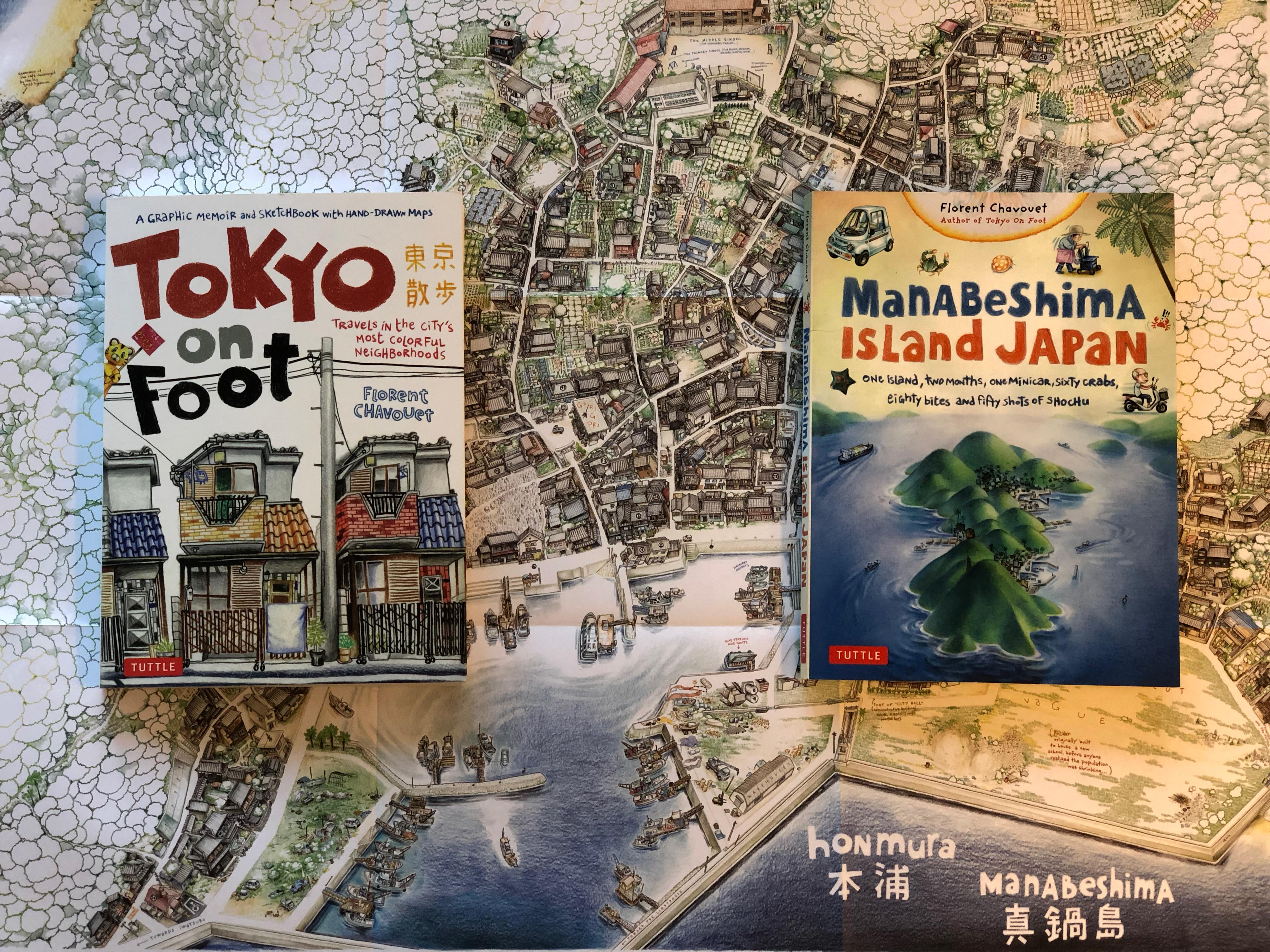 Florent Chavouets böcker Tokyo on Foot och Manabeshima Island Japan ligger på kartan över byn Manabeshima som följer med den sistnämnda boken.