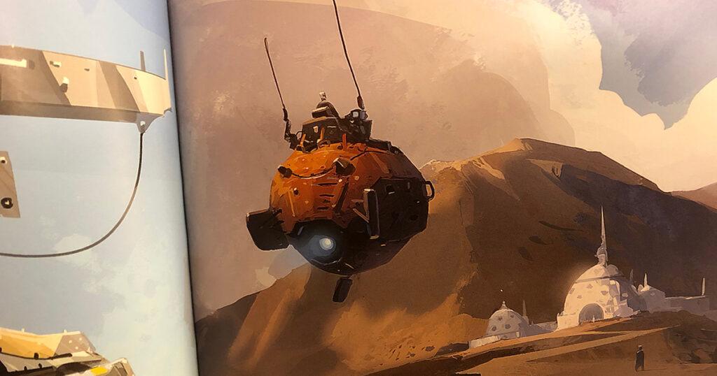 En mer traditionell science fiction-farkost i ett mytiskt landskap. Ur Chroma.