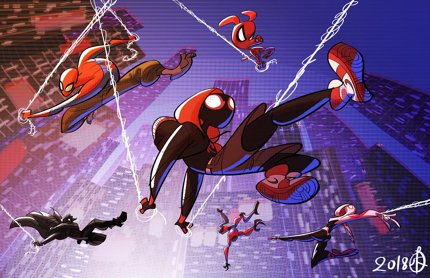 Into the Spider-verse av Huy Hoang Ha. Från behance.net/splendidriver