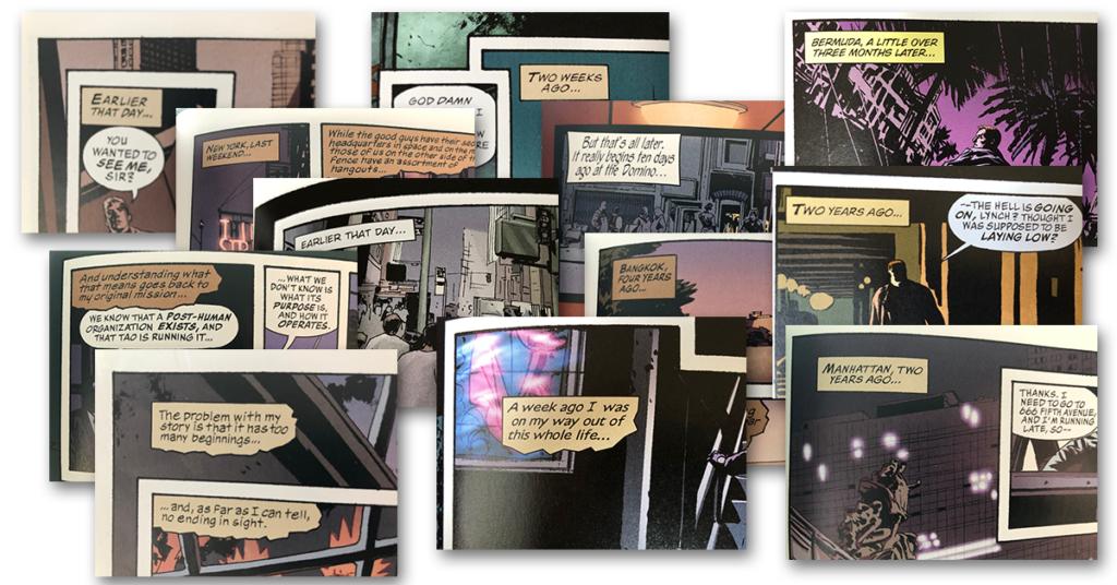 """Ett collage med exempel på bildrutor vars textruta börjar med en variation på """"Earlier that day…""""."""