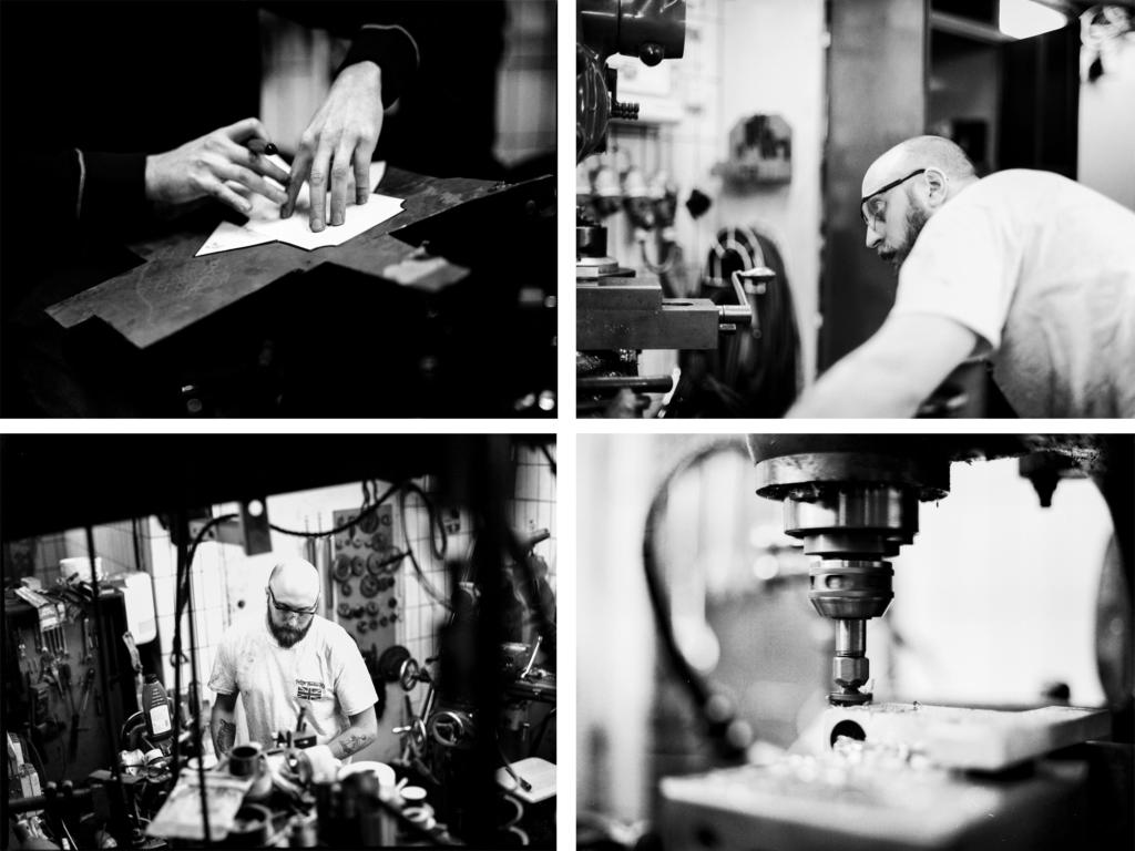 Uppe till vänster ritar Cristoffer en mall för uppsamlingstanken för vevhusventilationen som han ska tillverka. Bredvid den bilden är det en mycket fokuserad Cristoffer som fräser en ny del till framgaffeln. En närbild på det arbetet ser vi nedanför den bilden. Nere till vänster arbetar Cristoffer med borrmaskinen.