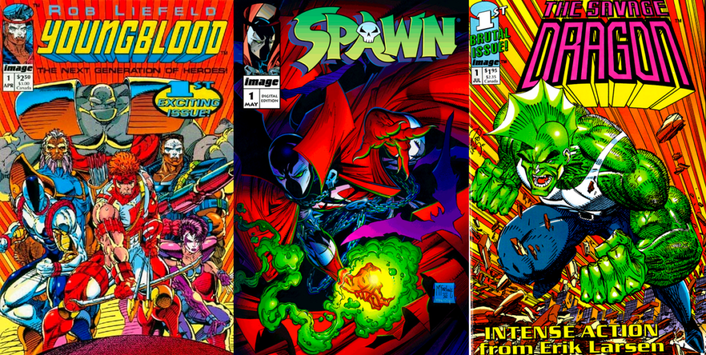 Youngblood, Spawn och Savage Dragon var tre av de första titlarna som Image Comics gav ut.