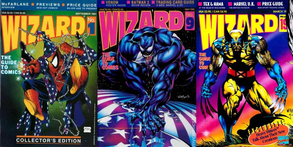 Tre omslag av Wizard från de tre första åren.