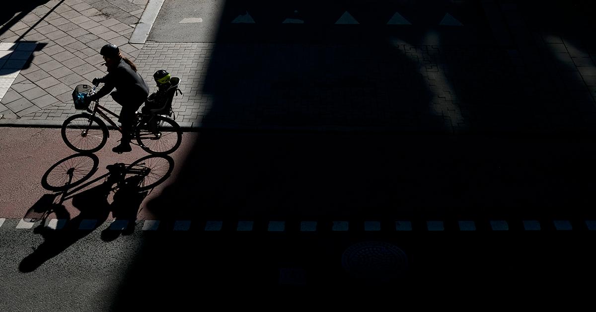 Cyklist på Hornsgatan i mars 2020. Foto: Pelle Sten
