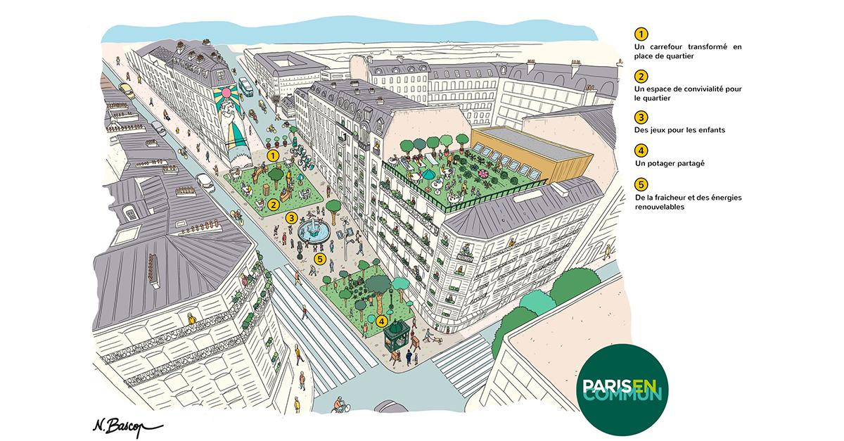 Nicolas Bascops illustration för Paris en Commun av hur 15-minutersstaden kan se ut efter att den har tagit över en bilgata.