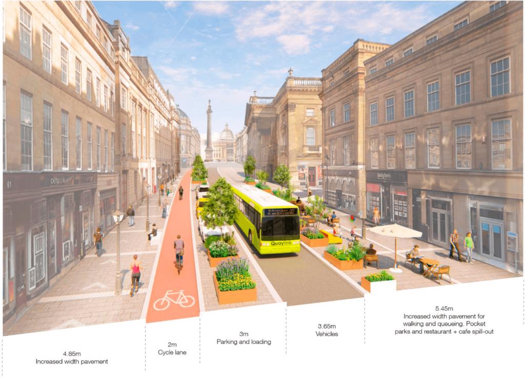 Grey Street som staden föreställer sig den efter omgörningen.