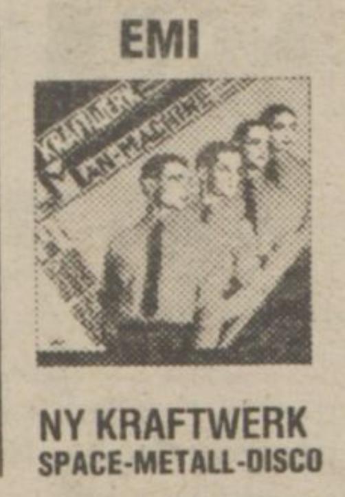 I en stor annons för butiken Gunnars i Södertälje (Expressen 1978-04-26) beskrivs Kraftwerks musik som Space-Metall-Disco.