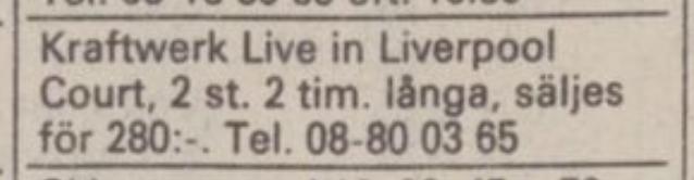 Kraftwerk-bootleg i Dagens Nyheters småannonser 1985-03-08.