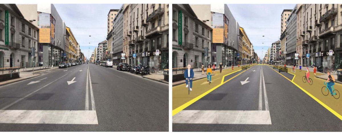 Så här planeras Corso Buenos Aires i Milano se ut före och efter omgörningen.