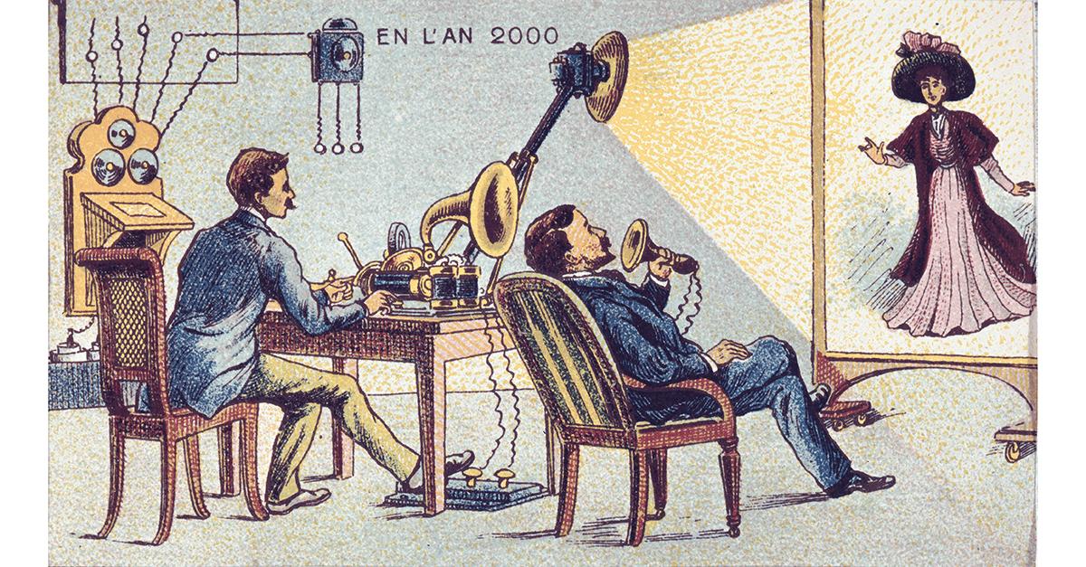 Framtidens radio, enligt Françoise Foliot. Illustrationen utgiven runt år 1900. Bilden är från Wikimedia.