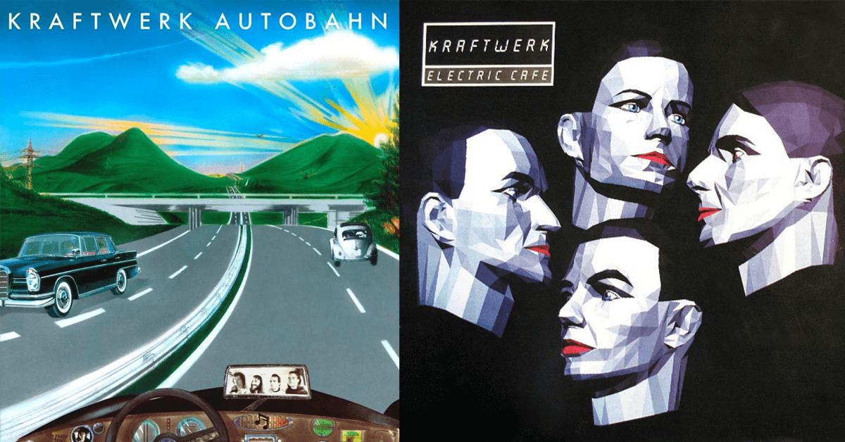 Kraftwerks album Autobahn och Electric Café. Utgivna 1974 respektive 1986.