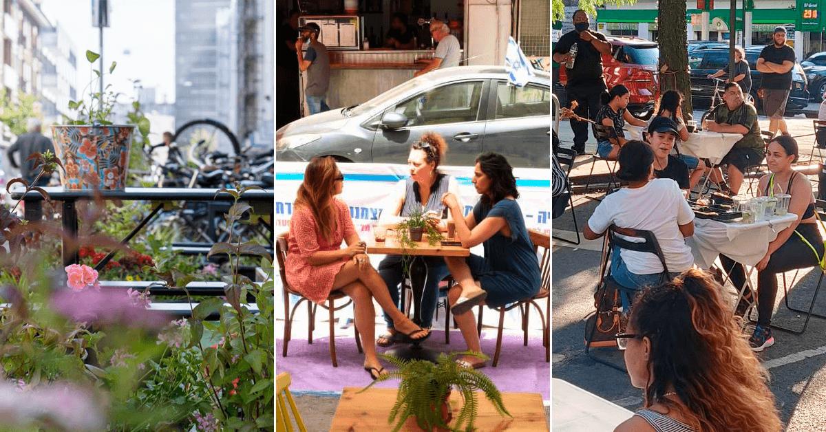 Bilfria platser i Rotterdam, Tel Aviv och New York. Foto: MVRDV, Naama Riba och Antonio Reynoso