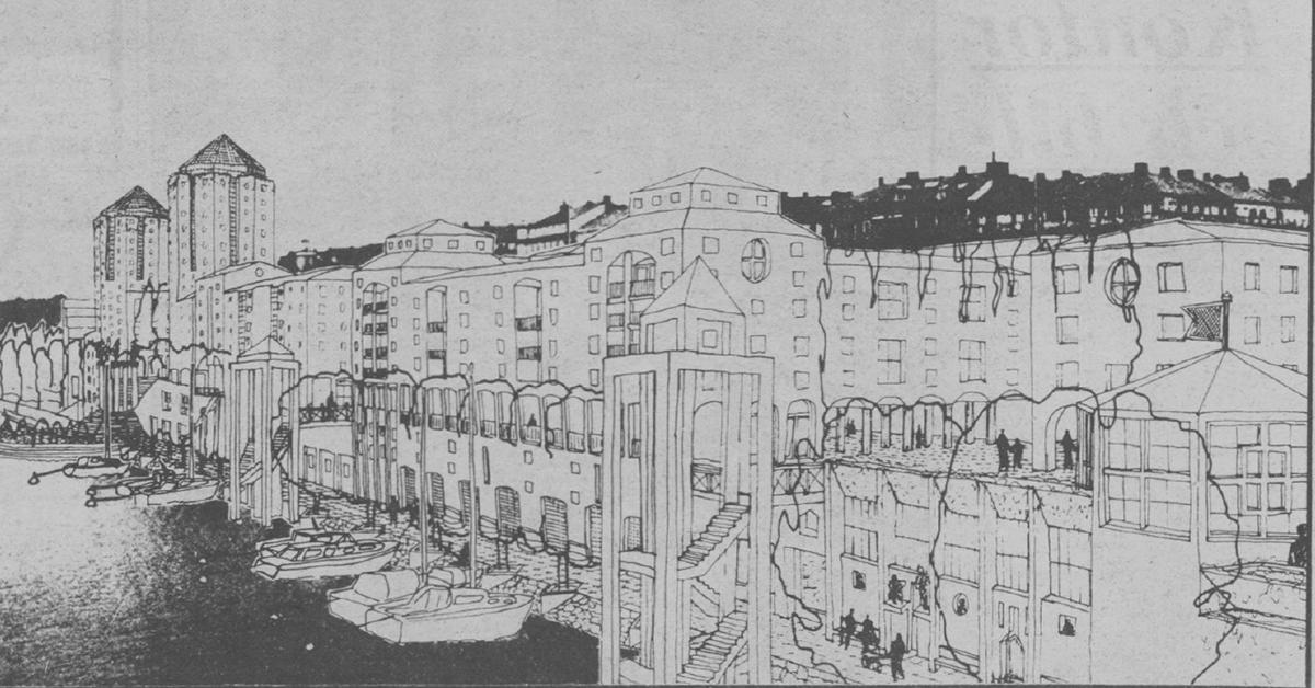 Så här var det tänkt att området skulle se ut om man stod på S:t Eriksbron och tittade upp mot Karlbergs station. Faksimil ur Expressen den 24 oktober 1985.