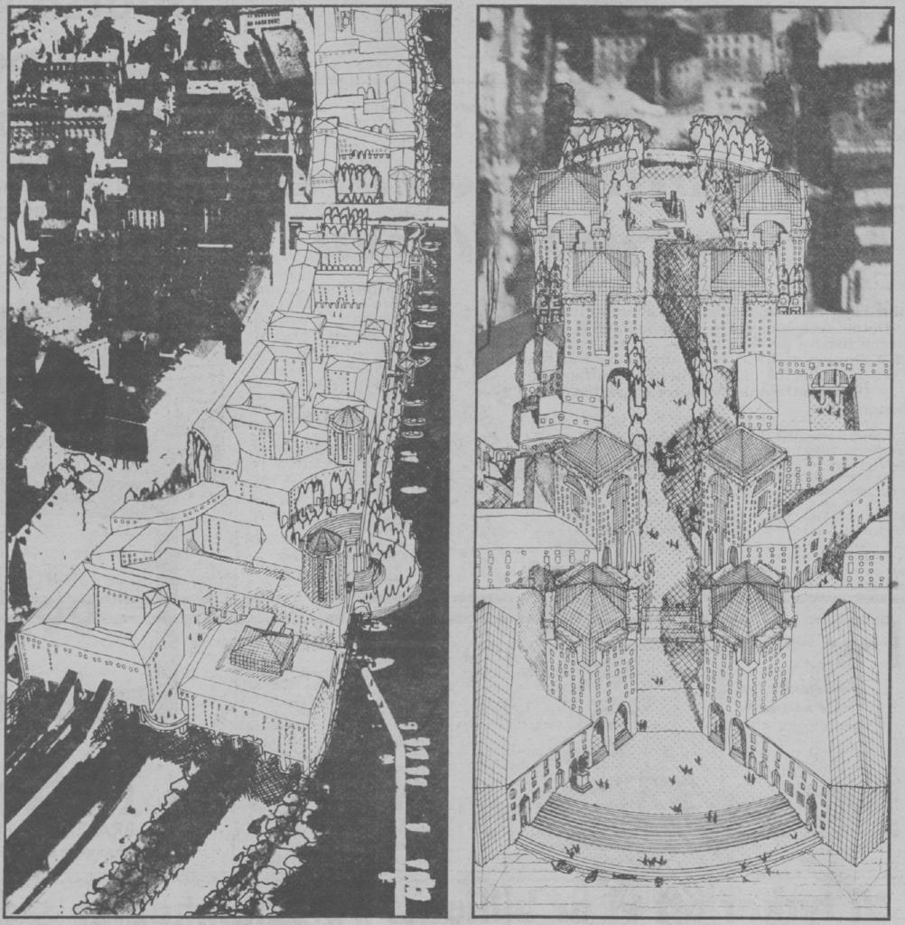 På skissen till vänster ser vi bostadsområdet från Karlbergs station och in mot Stockholm city. TIll höger är det Gunnar Malms vision för ett nytt Norra Bantorget som binder samman Norra Latin längst upp i bild med Klara sjö längst ner i bilden. Fasksimil från Expressen den 24 oktober 1985.