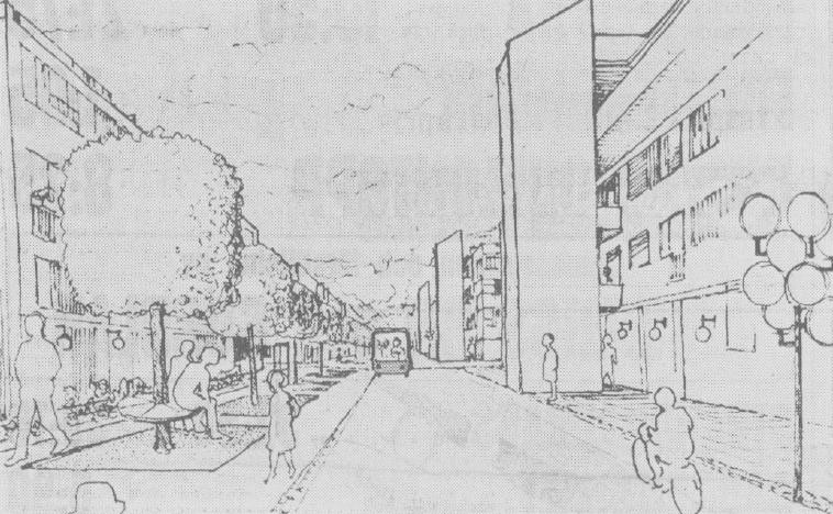 I Nya stan skulle man inte kunna köra in med bil, utan den lämnade man utanför stadsdelen och sedan kunde man åka med en eldriven minibuss om man inte ville promenera. (Från DN den 21 maj 1970.)
