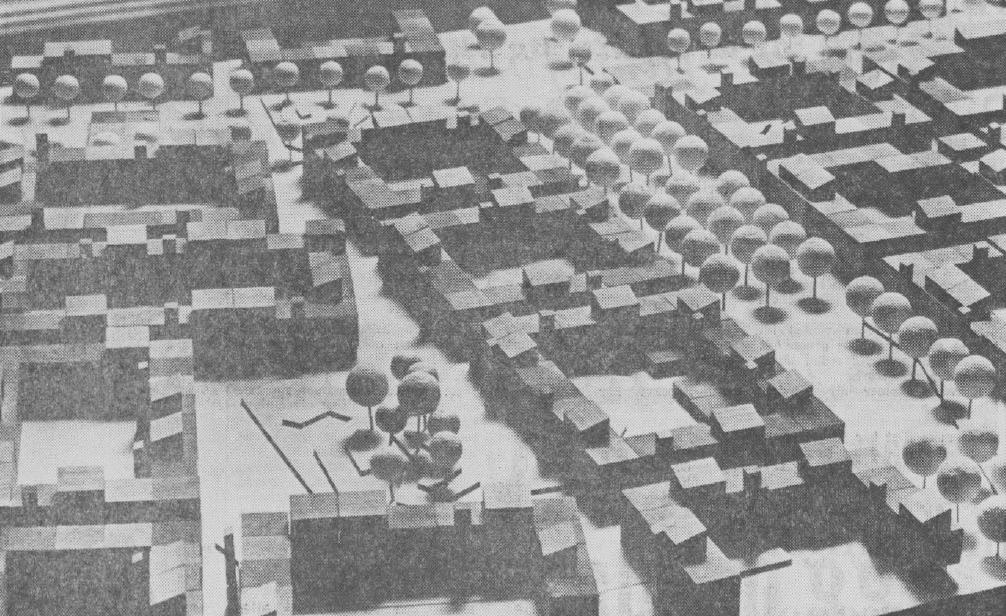 Modellen för Nya stan som den presenterades i DN den 21 maj 1970.