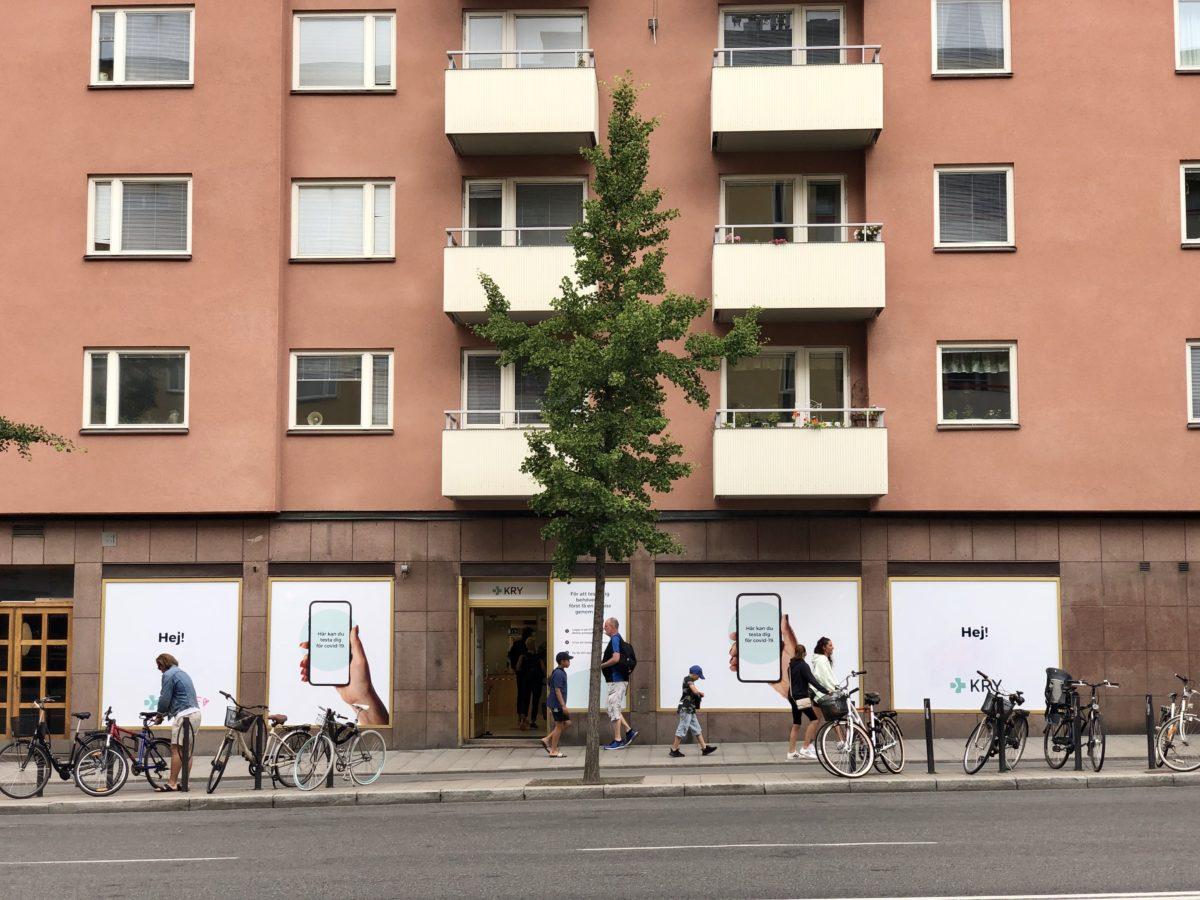 Krys mottagning för covidtest på Hornsgatan i Stockholm.