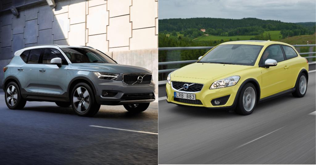 Volvos minsta bilmodell 2020, XC40, och C30, deras minsta modell 2014. Foto: Press